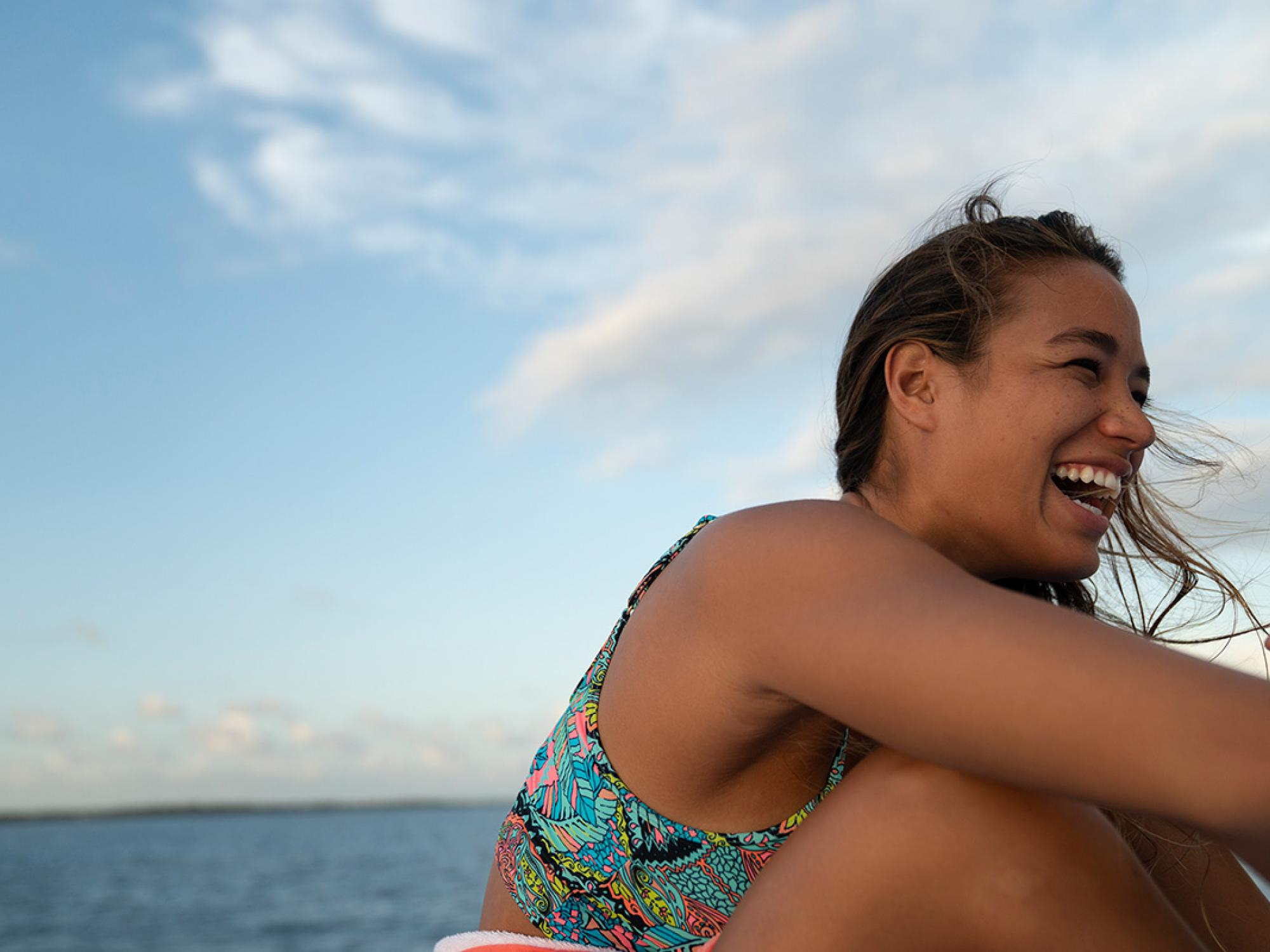 Laughing on the boat